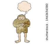 Stock photo cartoon bigfoot with thought bubble in grunge texture style 1463656580