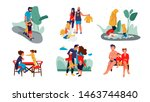 family scenes. happy parents... | Shutterstock .eps vector #1463744840