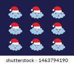 set of cloud shaped emoji with... | Shutterstock .eps vector #1463794190