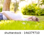 beautiful pregnant woman lying... | Shutterstock . vector #146379710