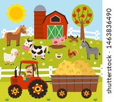 farmer rides a tractor and... | Shutterstock .eps vector #1463836490