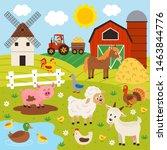 farmer and happy animal farm  ... | Shutterstock .eps vector #1463844776