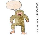 Stock photo cartoon bigfoot with speech bubble in retro texture style 1463862503
