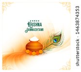 happy krishna janmashtami... | Shutterstock .eps vector #1463874353