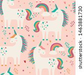 seamless pattern with unicorns  ... | Shutterstock .eps vector #1463881730