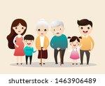 big happy family portrait.... | Shutterstock .eps vector #1463906489