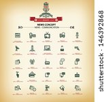News & Communication icons,Vintage background version,vector