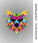 colorful owl bird low poly... | Shutterstock .eps vector #1463936666