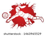 woman volleyball player action... | Shutterstock .eps vector #1463965529