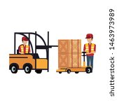 warehouse workers driving... | Shutterstock .eps vector #1463973989