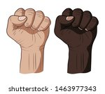 two clenched fists raised up.... | Shutterstock .eps vector #1463977343