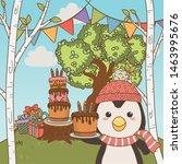 penguin cartoon with happy... | Shutterstock .eps vector #1463995676