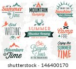 Summer Camping Vector Calligraphy Design Elements in Vintage style