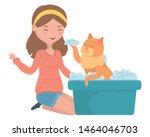 girl with cat cartoon design | Shutterstock .eps vector #1464046703