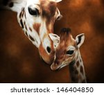 Giraffe Adult And Baby Painting