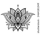 filigree lotus flower  black... | Shutterstock .eps vector #1464181349