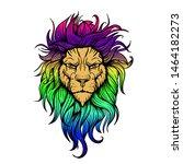 vector hand drawn tattoo lion... | Shutterstock .eps vector #1464182273