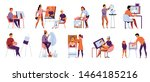 men and women with creative... | Shutterstock .eps vector #1464185216
