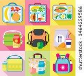 school lunch bag icon set. flat ... | Shutterstock .eps vector #1464229586