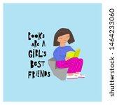 cute girl reading.... | Shutterstock .eps vector #1464233060