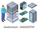 man tests computer equipment....   Shutterstock .eps vector #1464233759