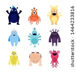 funny monsters. cute baby...   Shutterstock .eps vector #1464233816