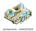 bank isometric. modern building ... | Shutterstock .eps vector #1464254243