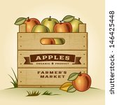 retro crate of apples. editable ... | Shutterstock .eps vector #146425448