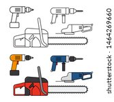 electric tools for home repair  ... | Shutterstock .eps vector #1464269660