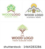wood logo with tree home and...