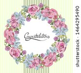 roses and clover in a wreath.... | Shutterstock .eps vector #1464295490