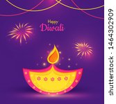 happy diwali card or poster... | Shutterstock .eps vector #1464302909