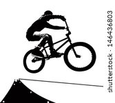 high contrast silhouette extreme sports bike stock vector royalty