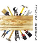 assorted work tools and wood | Shutterstock . vector #146439119