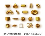 set of 3d golden geometric... | Shutterstock .eps vector #1464431630