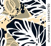 abstract floral collage with... | Shutterstock .eps vector #1464434780