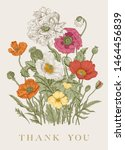 vintage floral illustration.... | Shutterstock .eps vector #1464456839