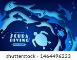 paper art of scuba diving ...   Shutterstock .eps vector #1464496223