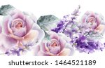 rose and tulips card watercolor ... | Shutterstock .eps vector #1464521189