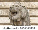 Lion Statue. Stone Monument....
