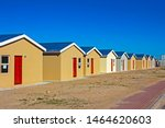 Row of newly built low-cost RDP homes in Western Cape, South Africa