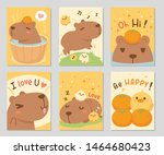 cute happy capybara together... | Shutterstock .eps vector #1464680423