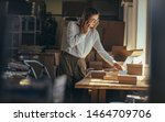 Small photo of Businesswoman providing the shipment status to the customer over phone. Female entrepreneur looking the shipment documents and talking over mobile phone.