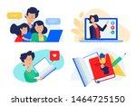 flat design concept of family... | Shutterstock .eps vector #1464725150