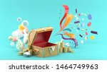 the treasure box is surrounded...   Shutterstock . vector #1464749963