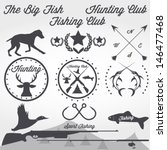 set of vintage hunting and... | Shutterstock .eps vector #146477468