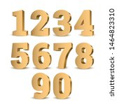 gold 3d numbers. symbol set.... | Shutterstock .eps vector #1464823310
