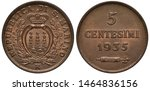 San Marino coin 5 five centesimi 1935, crowned shield with three smoking towers on mountain top flanked by sprigs, fascine and hatchet below denomination and date,