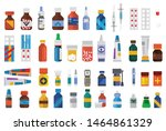 set of drugs medicine  pharmacy ... | Shutterstock .eps vector #1464861329