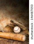 Baseball Bat With Ball And Old...
